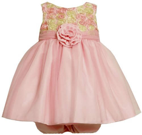 Bonnie Jean Baby/INFANT 12M-24M 2-Piece PINK YELLOW BONAZ ROSETTE MESH OVERLAY Special Occasion Flower Girl Easter Party Dress