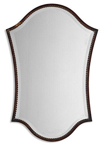 Cheap Diva At Home 30″ Distressed Bronze Rope Twist Trim Metal Framed Beveled Arch Wall Mirror
