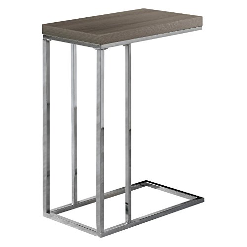(Monarch Specialties I 3008, Accent Table, Chrome Metal, Dark Taupe)