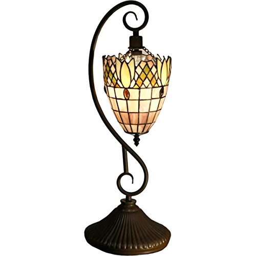 Pendant Tiffany Table Lamp Style 1 Light Reading Light Colorful Glass Hanging Tiffany Lamp Victorian Style H 22 x L 9 x W 6.5 inches Antique Bronze Finish - + (22 Victorian 1 Light)