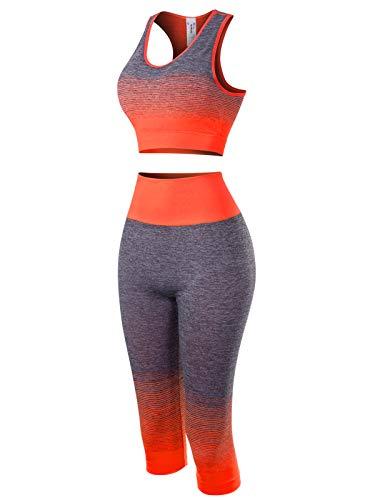 MixMatchy Women's Two-Piece Sports Bra + Capri Leggings Gym Yoga Wear Set Neon Coral ONE