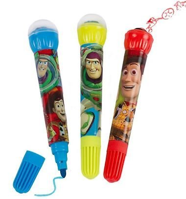 Disney Toy Story Set of 3 Markers with Roller Stamps ~ Characters on Blue, Buzz on Green, Bullseye on (Toy Story Buttercup)