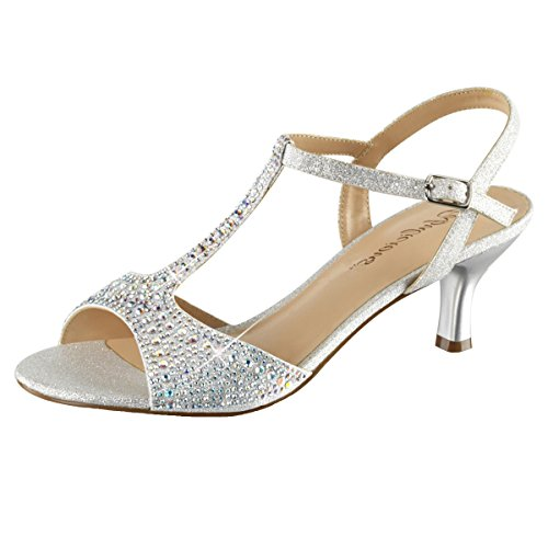 Heels-Perfect - Sandalias de vestir de Material Sintético para mujer plateado (plateado)
