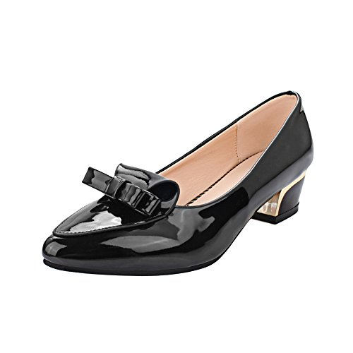 MissSaSa Damen modern Chunky heel Low-cut Pointed Toe Lackleder Pumps mit Schleife Schwarz