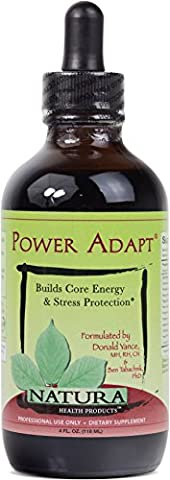 Natura Health Products - Power Adapt - Potent energy tonic optimizes adrenal function; builds strength, stamina, and stress protection - 4 Fluid - 302 Training