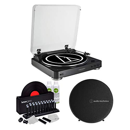 Audio-Technica AT-LP60 Wireless Turntable and Speaker System (Black) with Knox Gear Vinyl Record Cleaner Kit