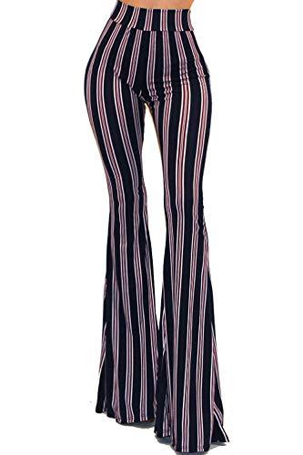 Vivicastle Women's Boho Comfy Stretchy Bell Bottom Flare Pants (C44, Navy, ()