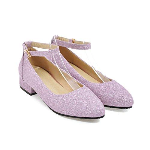 Señaló Bloque Talón Boca Toe amp;S Zapatos Mei Superficial Las Mujeres Purple del xzw1InYqX
