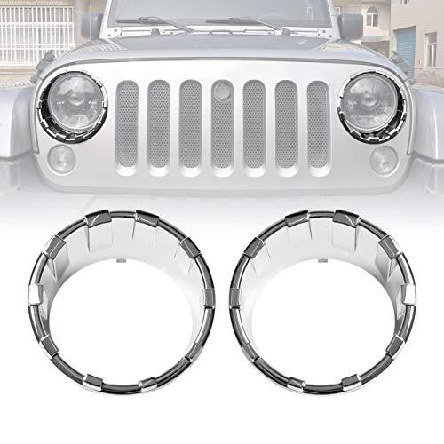 ICARS Triple Chrome Silver Front Headlight Trim Cover Bezels Pair Jeep Wrangler Rubicon Sahara Sport JK JKU Unlimited Accessories 2 door 4 door 2007-2018