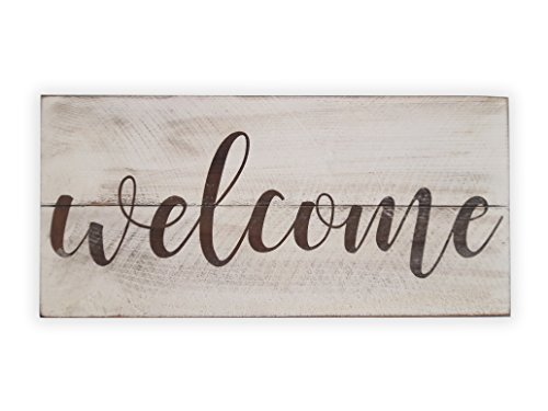 Rustic Engraved Wood Sign – 23″ x 10.5″ – Welcome – White Review