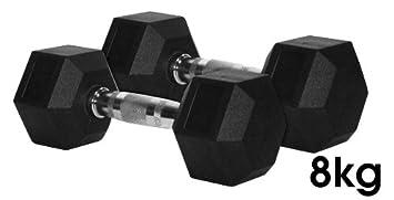 8 kg, pesas hexagonales de caucho (par)