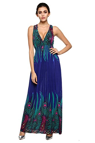 Teamyy Vestido Largo de Playa Verano para Mujer Bohemio Cola de Pavo Hawaiano Cuello en V Azul