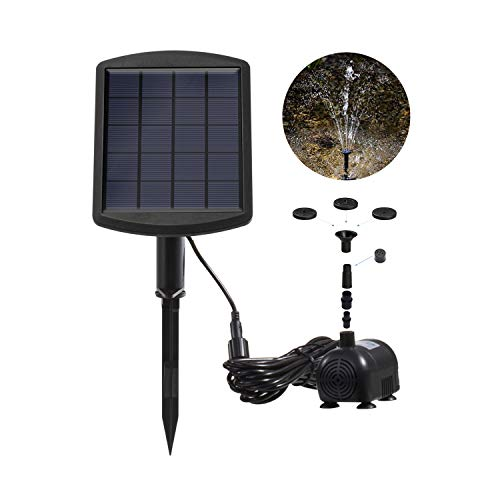 Weanas 1.8W Solar Water Fountain Pump for Bird Bath, Garden Fountain, Small Pond and Water Circulation Submersible Water Pump Kit, 8 Spay Heads Included (Pump Head Conversion)