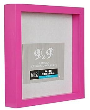 9 X 9 Bonitas Caja De Sombra De Color Rosa Marco De Madera Pesada De 2