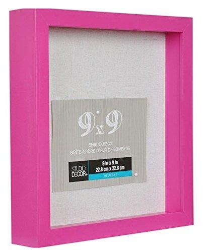 お手頃価格 9 X 9 Frame PrettyピンクシャドウボックスディスプレイケースHeavy木製フレーム1