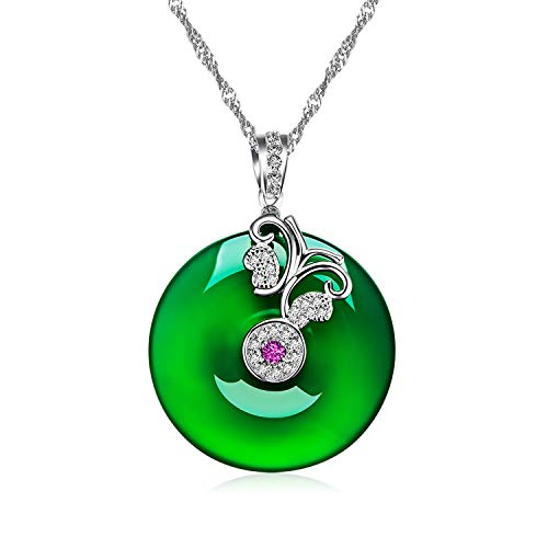 Uloveido Women's Green Jade Chalcedony Agate with Butterfly Pendant Blessing Necklace Platinum Plated DN457 (Green)