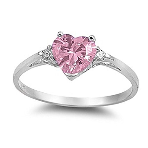 Sac Silver  Sterling Silver Pink Simulated CZ  Heart Promise Ring, 6