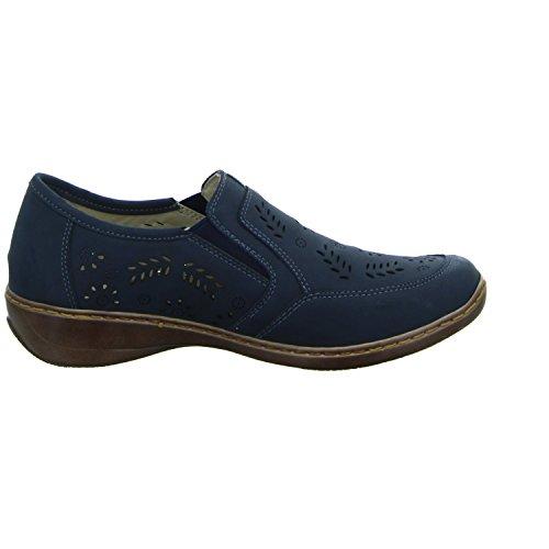Alyssa 6B261 Damen Slipper Halbschuh Gelocht Oder Geflochten Blau (Blau)