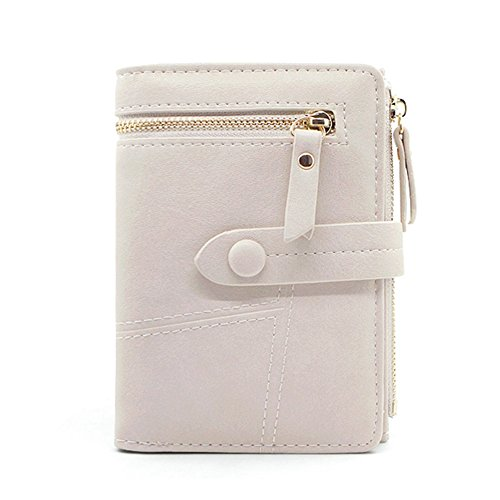 Women's Bifold Wallet Small Zip Soft Coin Leather Khaki Purse Badiya Short Card Simple Holder dxUWnUc
