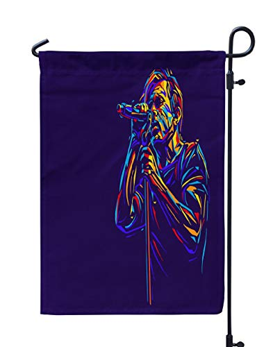 Soopat Jazz Music Seasonal Flag, Singer Man Character Abstract Music Karaoke Singer Weatherproof Double Stitched Outdoor Decorative Flags for Garden Yard 12''L x 18''W Welcome Garden Flag