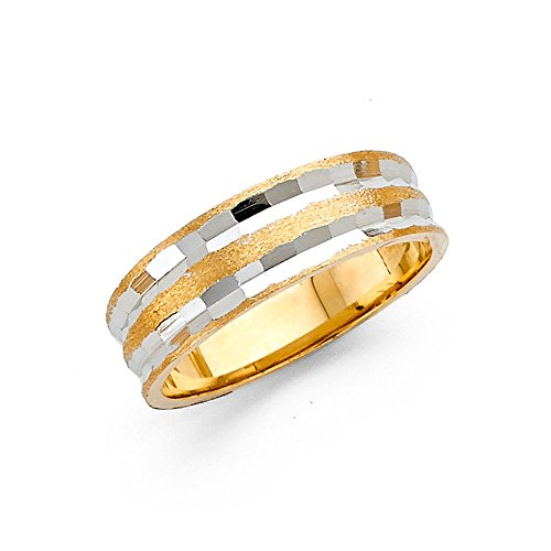 Ioka - 14K Two Tone Solid Gold 6mm Diamond Cut Tapered Hammered Style Womens Wedding Band - Size 8
