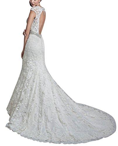 BRIDE grossen Hohlkreuz Weiß schlepp Sexy Spitze GEORGE Brautkleid Vintage dZ7Pppqw