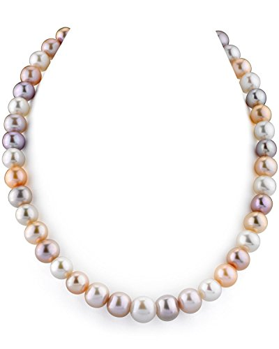 - THE PEARL SOURCE 14K Gold 10-11mm AAA Quality Multicolor Freshwater Cultured Pearl Necklace for Women in 24