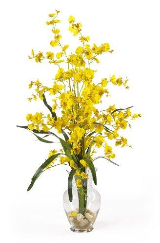 (Nearly Natural 1073-YL Dancing Lady Liquid Illusion Silk Flower Arrangement, Yellow)