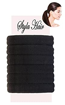 Premium Hair Ties for Thick Hair Heavy or Curly Hair (6 Pack) No Damage Scrunchie, No Slipping, Breakage, or Stretching Out Ponytail Holder. Seamless Hair Elastics (Black Standard Size) by Styla Hair