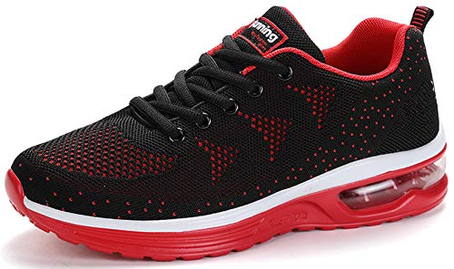 TSIODFO Men Black red Sneakers mesh Breathable Comfort Sport Athletic Walking Shoes Gym Jogging Running Tennis Trainers Size 7 (835-Blackred-40)