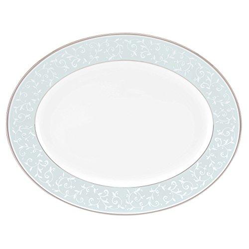 Lenox Opal Innocence Blue Oval Platter, White (Fine Dinnerware Oval Platter)