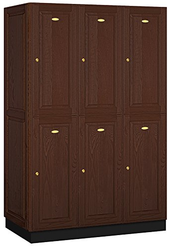 Salsbury Industries 2-Tier Solid Oak Executive Wood Locker with Three Wide Storage Units, 6-Feet High by 21-Inch Deep, Dark Oak - Solid Wood Kitchen Storage