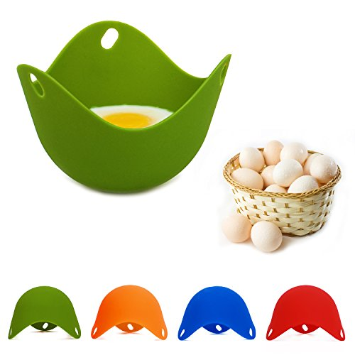 BSL Silicone Egg Poacher Non Stick Egg Poacher Cups Egg Cooker Cooking Perfect to Make Delicious Poached Egg in Minutes(Pack of 4)