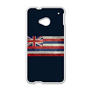 HTC One M7 Cell Phone Case White Vintage retro Hawaii state flag KCX Personalized Hard Phone Case