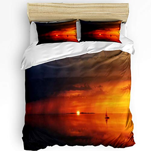 - YEHO Art Gallery King Size Luxury 3 Piece Duvet Cover Sets for Boys Girls,Lake Boat Reflection in The Sunset Bedding Set,Include 1 Comforter Cover with 2 Pillow Cases