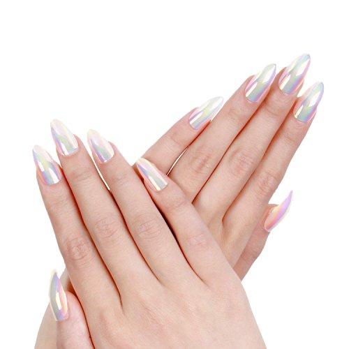 Ejiubas Press On Nails Chrome Stiletto Nail Tips Fake Nails with Nail Glue , 24 Pcs 12 Sizes