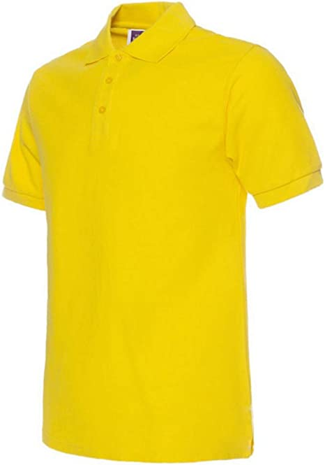 poLo,Amarillo Hombres Camiseta Polo Color Sólido Camisetas Polo ...