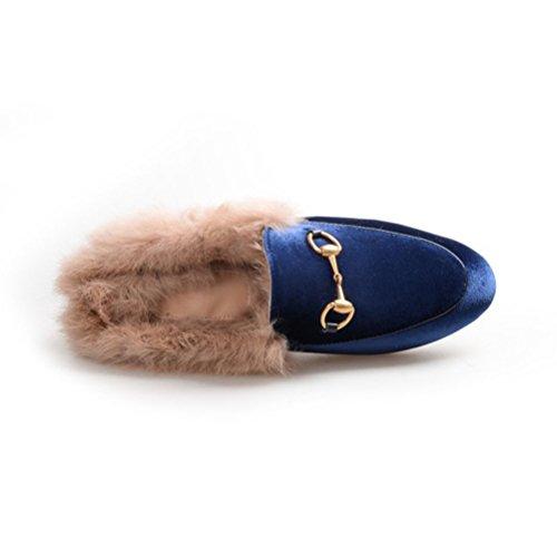 YE Damen Flache Mules Leder Pantoletten Geschlossen mit Fell Bequem Slipper Schuhe Blau(Wildleder)