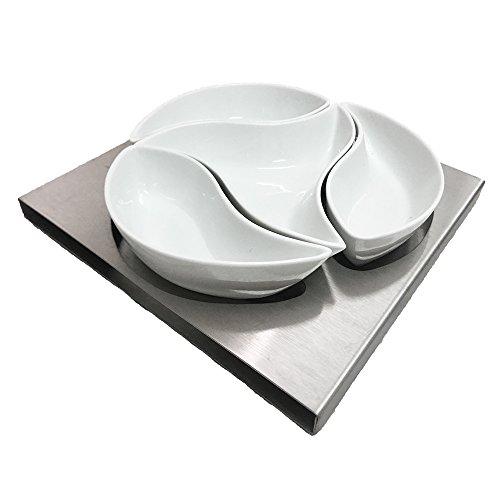 CHEFHUB 4Pcs Multipurpose Ceramic Seasoning Dishes Appetizer Plates, Multicolor Leaf Shape Porcelain Saucers Bowl Dinnerware Set for Vinegar/Salad Soy Sauce/Wasabi ()