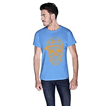 Creo Orange Coco Skull T-Shirt For Men - L, Blue