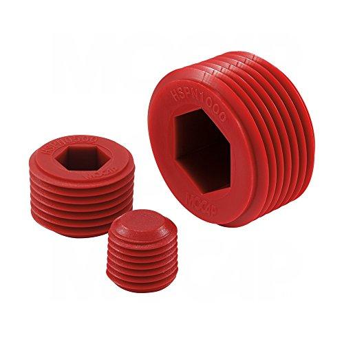 HSPN0750RD4 Hex Socket Plug for 3/4-14 NPT Threads, PP Red - MOCAP (qty 400) by MOCAP (Image #2)