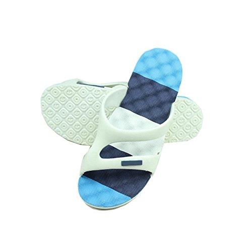 Hommes Été Mode Sandales De Plage Maison Massage Antidérapant Pantoufles V6-1 Bleu