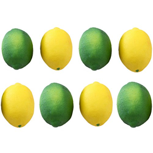 Buytra 8 Pack Artificial Fake Lemons Limes Fruit for Vase Filler Home Kitchen Party Decoration, Yellow and Green, Large (3.9