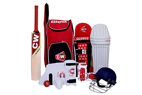 C&W CW Junior Cricket Kit Red in Size No.4 Sports Red Set with Kashmir Willow Premium Quality Cricket Bat, Ezzepack Shoulder Kit Bag for Junior Cricket Players Ideal for 7-8