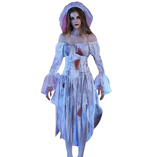 Missley Ghost Bride Costume Halloween Cosplay Deluxe Scary Cosplay Dress with blood White Dress (L, White)