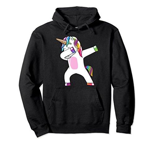 Rainbow Adult Sweatshirt (Unisex Dabbing Unicorn Hoodie- Dab Dance Rainbow Unicorn Sweatshirt XL: Black)