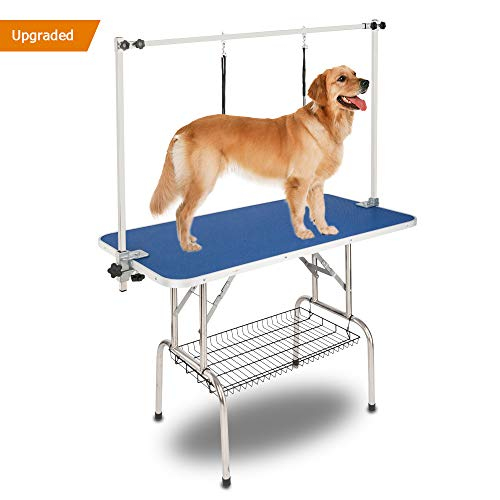 "Bonnlo Upgraded Pet Grooming Table, 45"" x 24"" Portable Dog Grooming Table with Arm Noose & Mesh Tray, Adjustable Folable Pet Groom Table Stand for Dog Cat, Maxium Capacity Up to 330 LBS"
