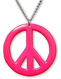 Hot Pink Hippie Peace Sign Enamel Finish On Pewter Pendant Necklace