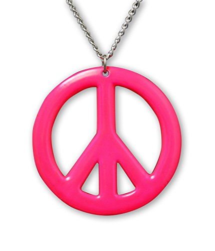 Real Metal Hot Pink Hippie Peace Sign Pendant Necklace Enamel on Pewter Cosplay -