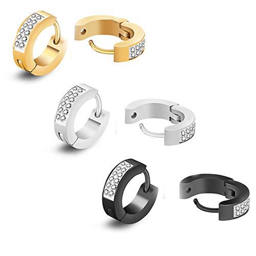 (CZ Hoop Earrings,Cubic Zirconia Inlaid Stainless Steel Small Huggie Hoop Earring for Women Men Pack of 3 Pairs)